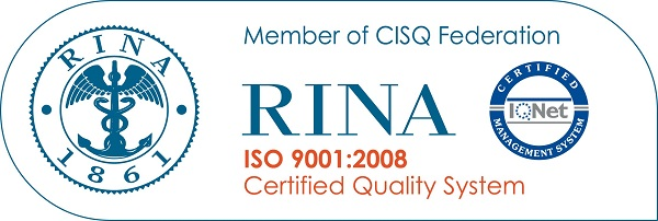 certificazione rina 9001.2008 stampaggio tamponi in resina e gomma (poliuretani)